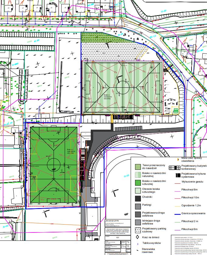 Projekt architektoniczny boiska.