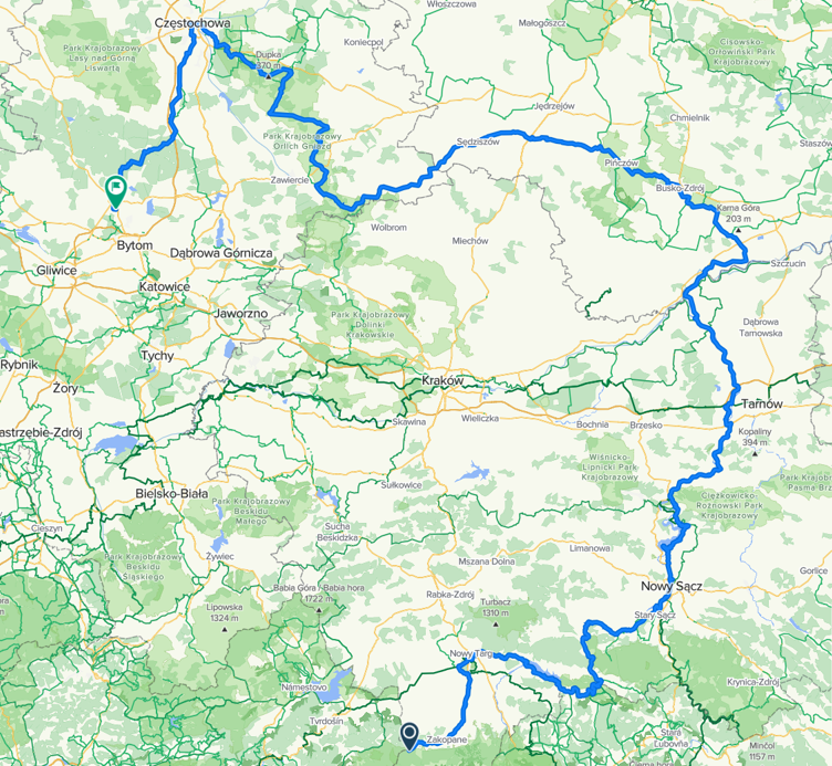 Mapa z trasą 5 Rajdu Tarnogórskiego. Trasa z Zakopanego do Tarnowskich Gór przez Velo Dunajec, Wiślańską Trasę Rowerową, Jurajski Szlak Orlich Gniazd, Leśna Rajza.