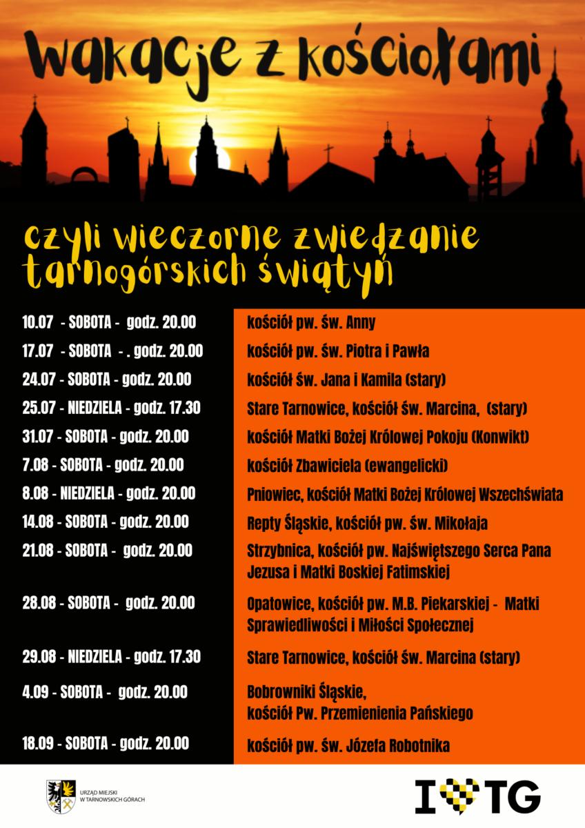 Pomarańczowo czarny plakat z datami wieczornego zwiedzania