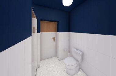 łazienka w tonacji biało granatowej