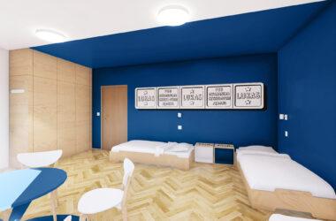 Sypialnia z dwoma łóżkami i stolikiem