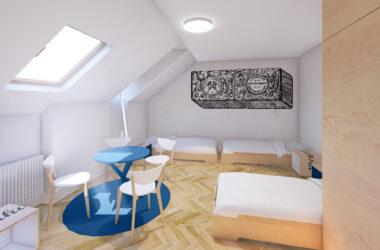 Sypialnia na poddaszu z trzema łóżkami i stolikiem