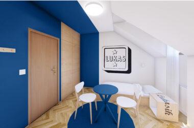 Sypialnia na poddaszu z łóżkiem i stolikiem