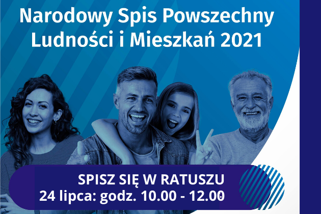 Infografika NSP 2021, 4 uśmiechniętych osób na niebieskim tle.