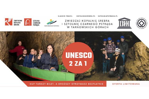infografika - turyści w łódce w Sztolni oraz w korytarzu kopalni