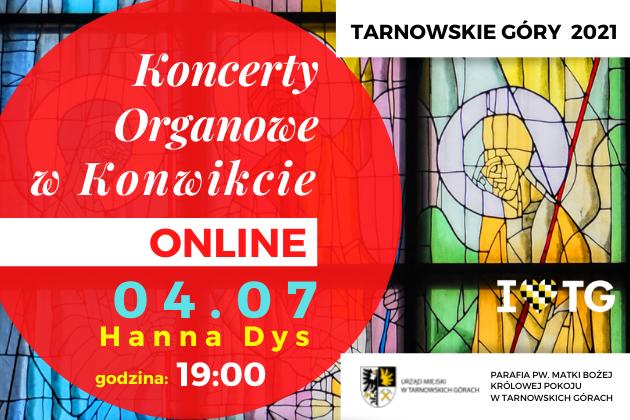infografika Koncertów Organowych w Konwikcie 4 lipca godzina 19:00. W tle kolorowy witraż i czerwony okrąg.