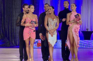Trzy nagrodzone pary taneczne.