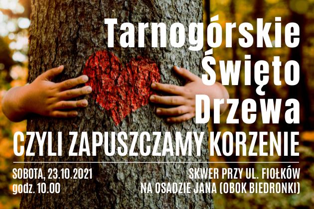 Infografika z dłońmi otulonymi wokół pnia drzewa. Pomiędzy dłońmi namalowane czerwone serce.